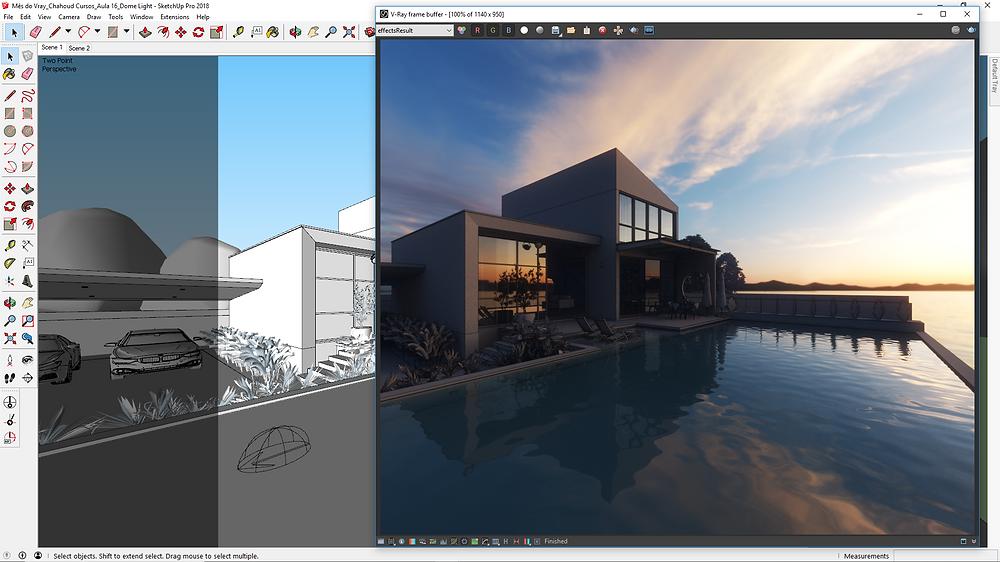 Print da viewport do SketchUp com HDR de céu aplicado no render