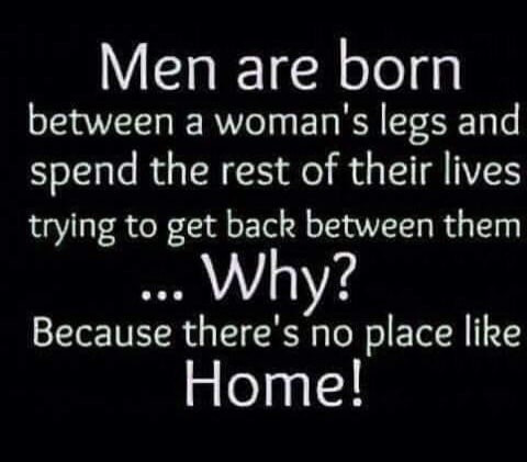 Men are born between a woman's leg & spend rest of lives trying to get back between them Home Meme & Many More Vagina Memes!
