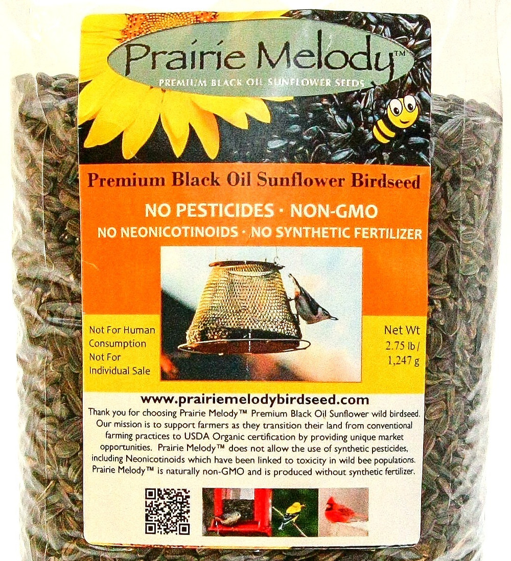 Package containing 2.75 pounds of Prairie Melody black oil sunflower birdseed