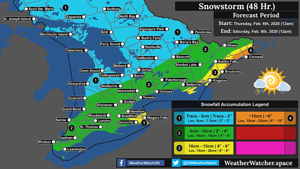 Snowfall Forecast, for Southern Ontario. Issued February 5th, 2020.