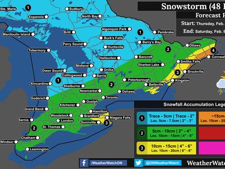 Widespread Snowfall across Southern Ontario on Thursday