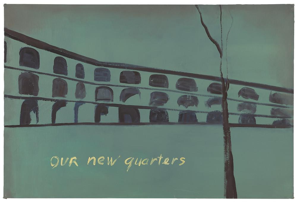 Our New Quarters, 1986, olio su tela, 80,5 x 120 cm MMK Museum für Moderne Kunst Frankfurt am Main. Gift of the artist Photo credits: Ben Blackwell. Courtesy David Zwirner, New York / London