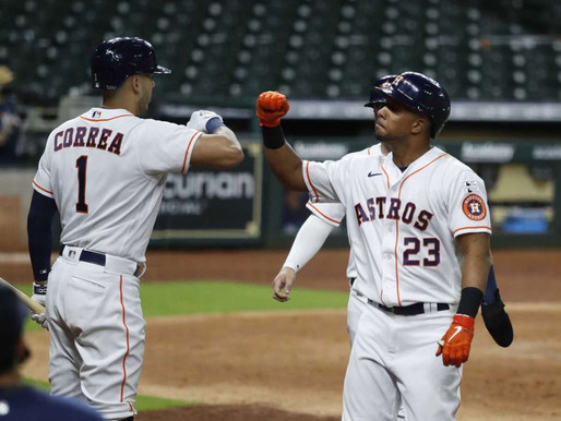 Brantley's bat and Javier's arm helps the Astros bounce back with a 2-1 victory over the Rangers.