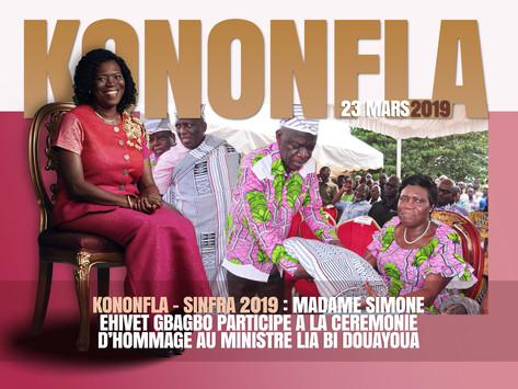 KONONFLA – SINFRA 2019 : SIMONE EHIVET GBAGBO PARTICIPE A LA CÉRÉMONIE D'HOMMAGE A LIA BI DOUAYOUA
