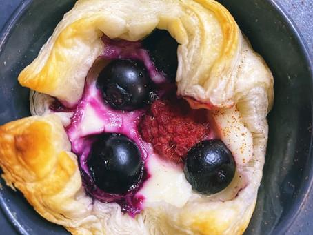 Berries and Cream Puff Pastry Bites