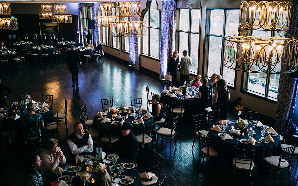 The reception venue and dance floor at The Pinery