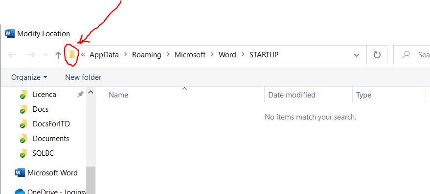 Преглед на локацијата за Startup документите