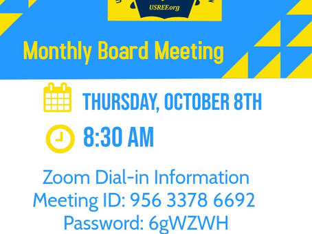 USREF Monthly Board Meeting - Thursday, October 8th @ 8:30 am