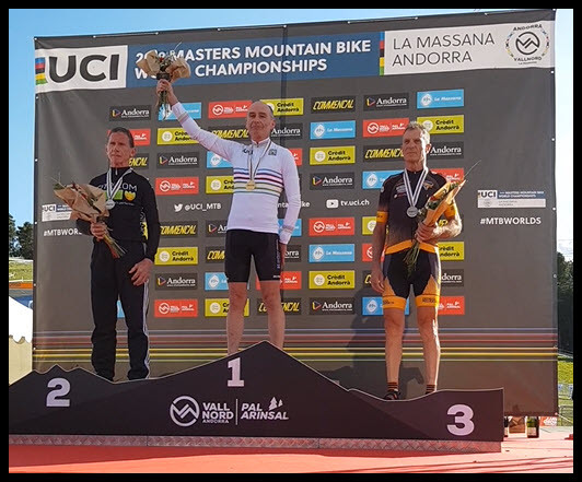 Gary on the podium at the 2019 UCI Masters Mountain Bike World Championships in Andorra