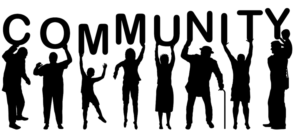 Blacked out shapes of different people holding up letters that spell Community