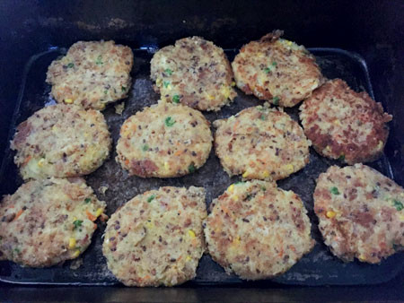 Left: Roll balls in egg and breadcrumb. Right: Lightly fry and then bake for 20 mins.
