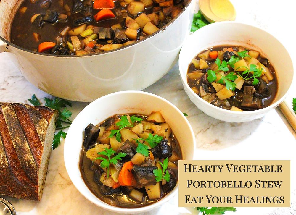 hearty vegetable and portobello stew