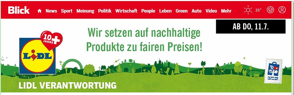 Stein des Anstosses: Lidls Nachhaltigkeitswerbung auf blick.ch (Bild: Presseportal) - evoo.expert