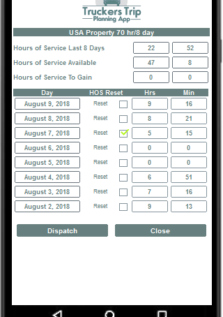 Hours of Service Calculator