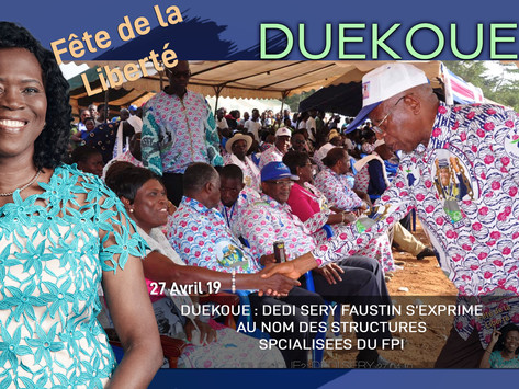 DUEKOUE : DEDI SERY FAUSTIN S'EXPRIME AU NOM DES STRUCTURES SPECIALISES DU FPI