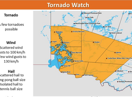 Tornado watches issued for SE Manitoba and NW Ontario