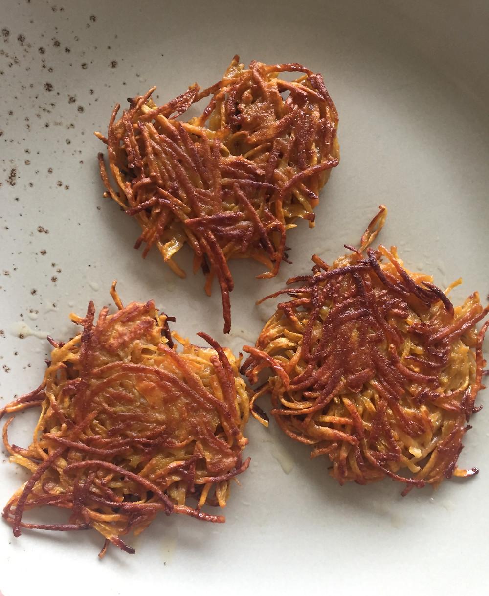 Süßkartoffelrösti Süßkartoffelpuffer Bio-Süßkartoffeln Sönkes Süßkartoffeln Süsskartoffel