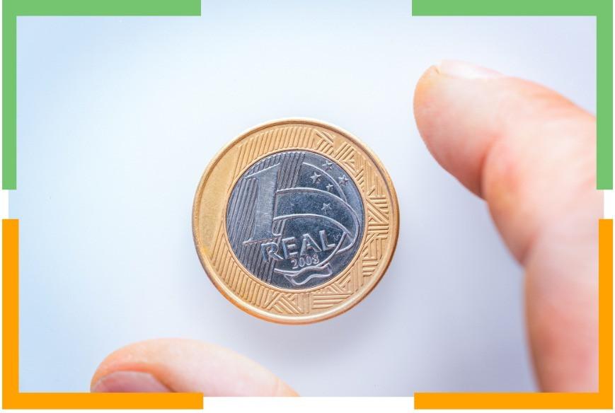 Imagem de uma moeda de um real.