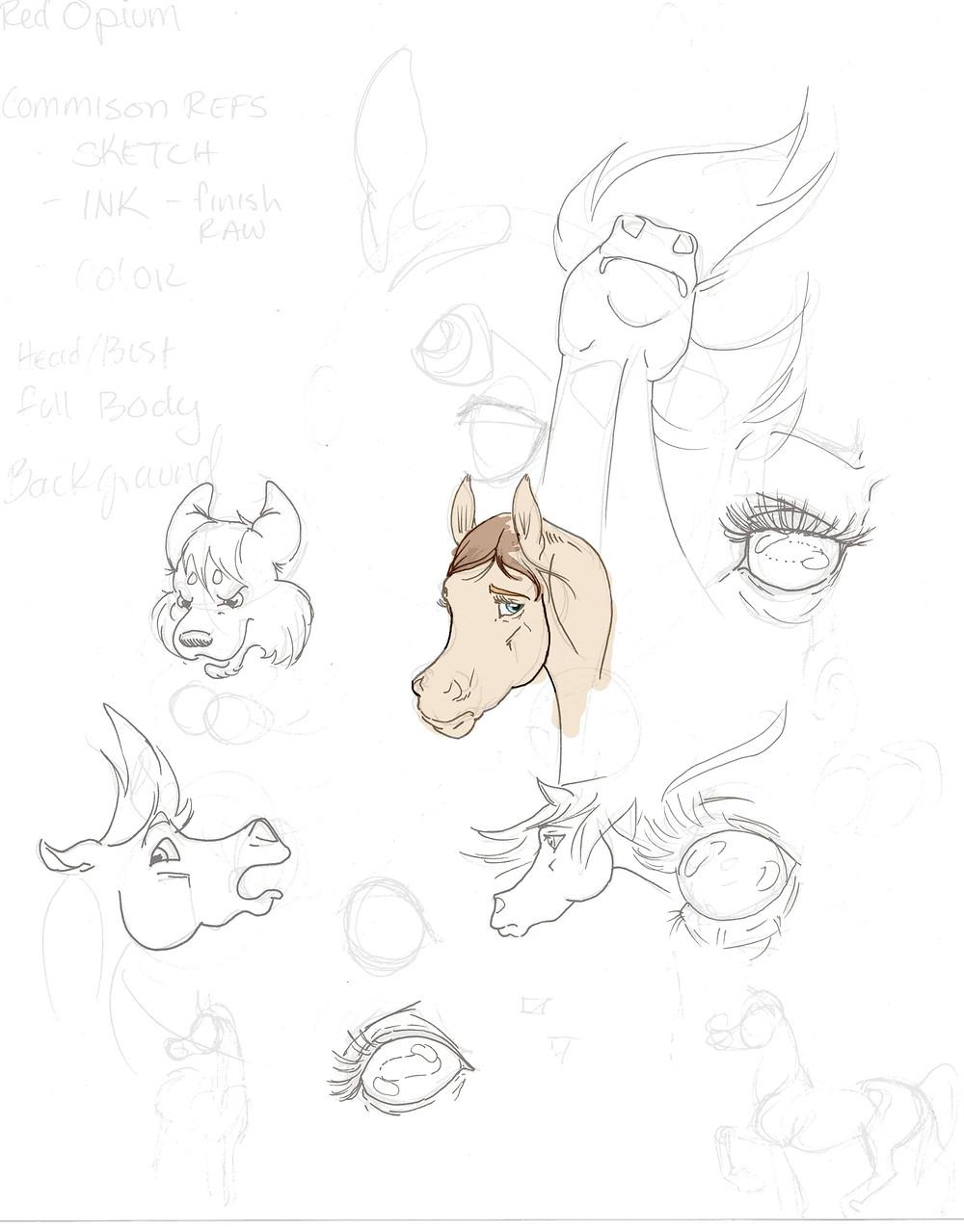 Horses Practice Digital Color Sketch