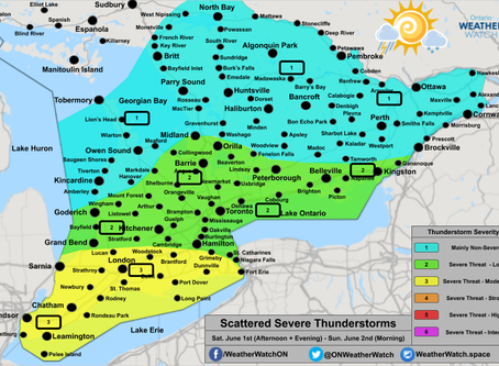 Severe Thunderstorms Expected in Southwestern Ontario, Including an Isolated Tornado Risk