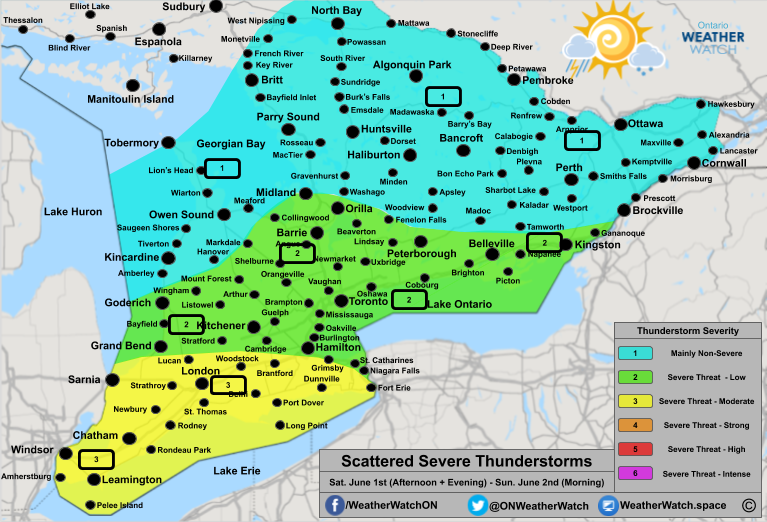 Thunderstorm Forecast, for Southern Ontario. Issued June 1st, 2019.