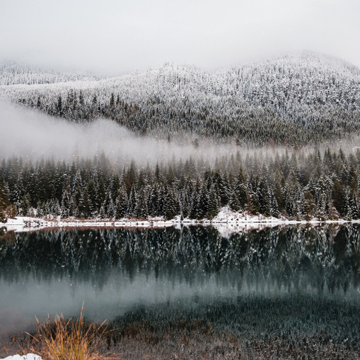 Snow capped trees and clouds reflected in a dark lake at Gold Creek Pond in Washington
