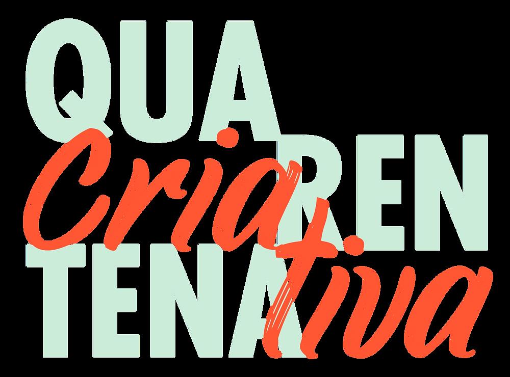 Logotipo da ação social Quarentena Criativa, desenvolvida pela editora Palavra Bordada, com a palavra Quarentena escrita em verde e em letras maiúsculas, e a palavra Criativa escrita em vermelho e em letras minúsculas