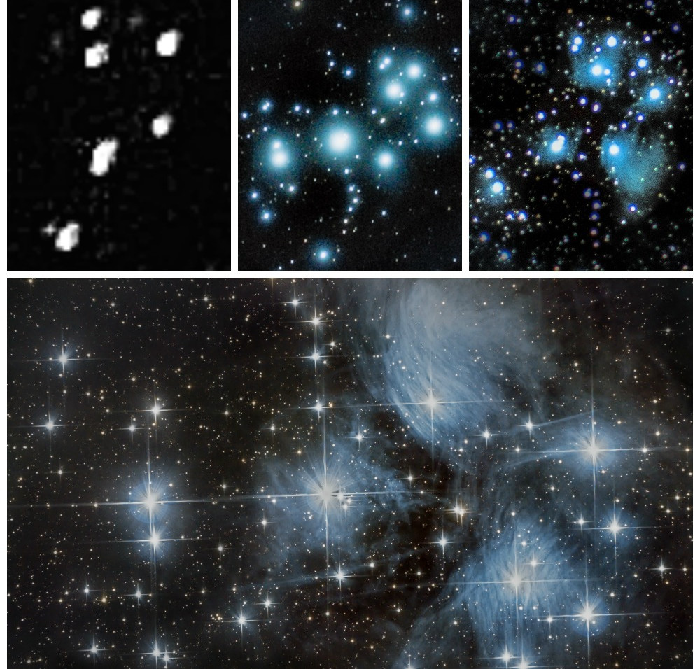 The Pleiades Star Cluster (M45) astrophotography with different setups over the years
