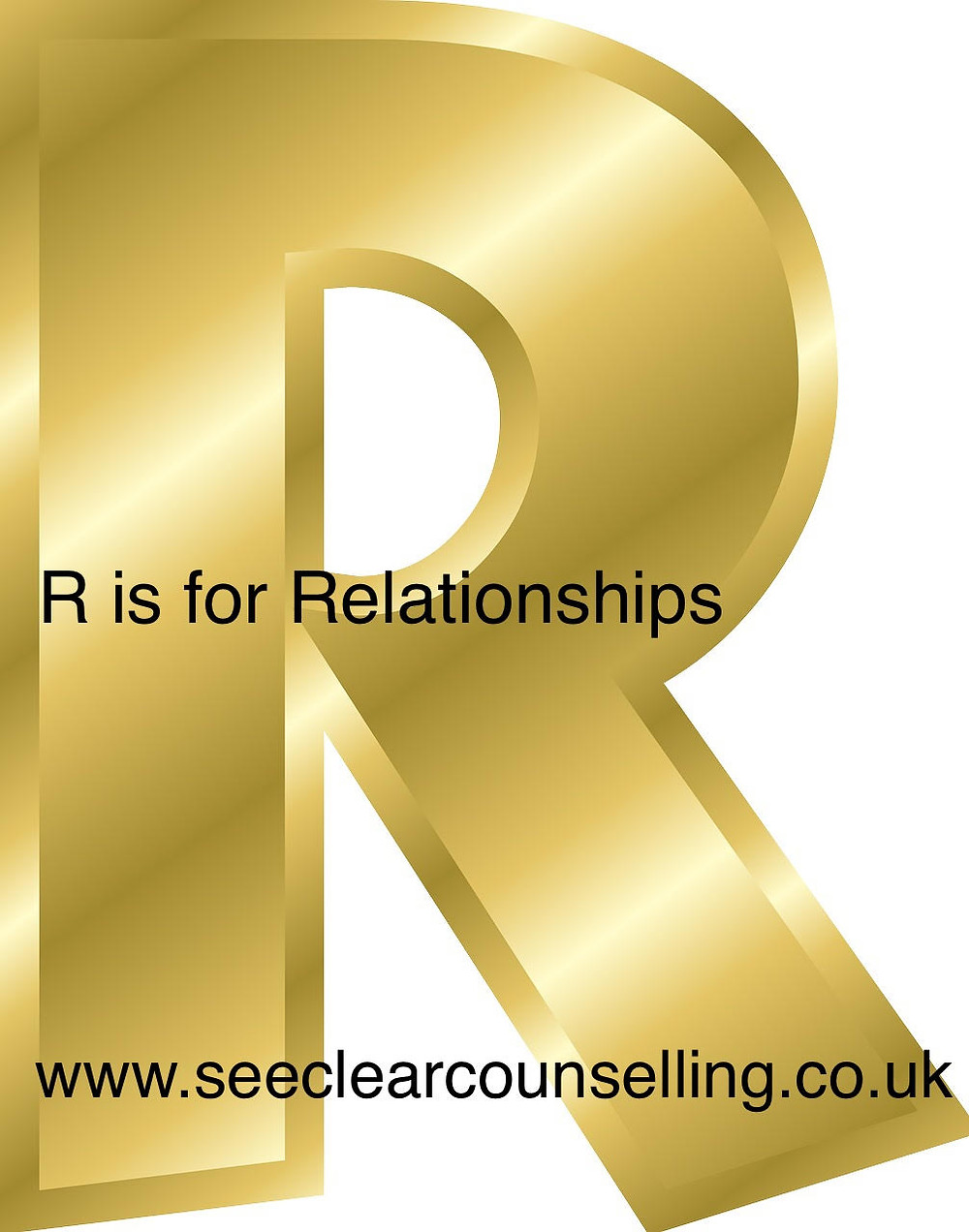 Gold letter R for Relationships
