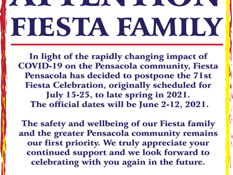 Fiesta Pensacola Postpones 71st Annual Fiesta Days Celebration to 2021