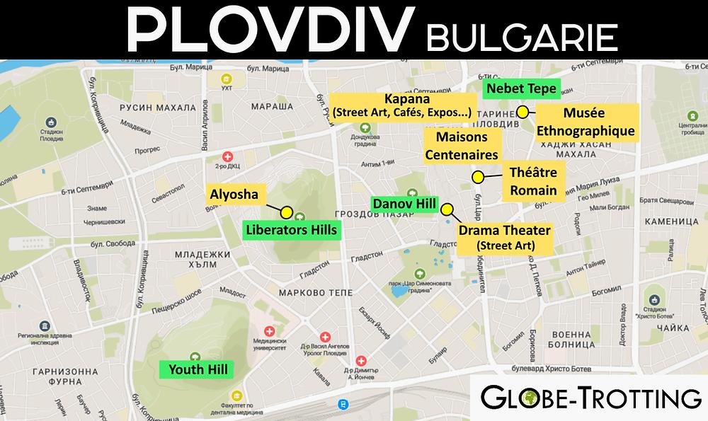 Plan Carte de la ville de Plovdiv
