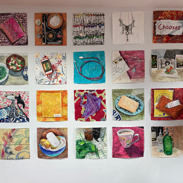 Meridith McNeal,  wall of Magical Things from Quarantine paintings