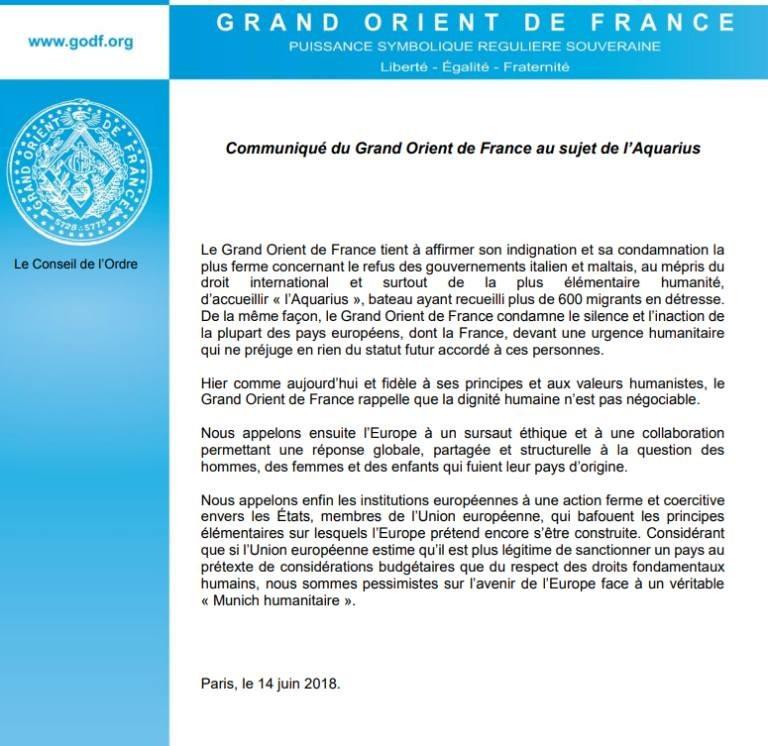 Communiqué du Grand Orient de France