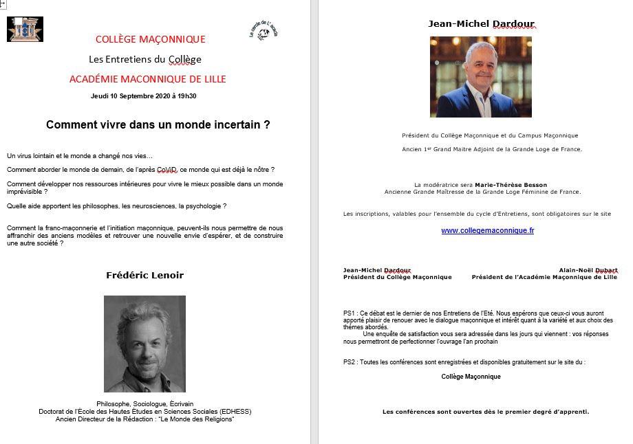 Collège Maçonnique | Alain-Noël Dubart | 10.09.2020