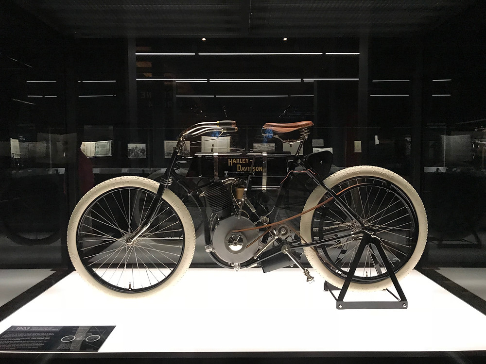 The very first Harley-Davidson Motorcycle 1903 on display in  the HD Museum.