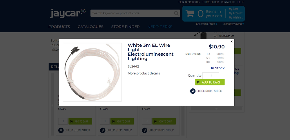 Screenshot of jaycar website - EL Wire to sew into a costume
