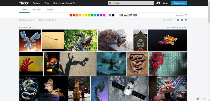 Tela inicial da busca do flickr com um mosaico de imagens aleatórias
