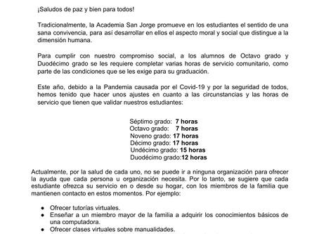 Carta sobre Servicio Comunitario (7mo a 12mo)