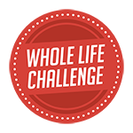 Whole Life Challenge Logo - a red circle with white dots around the edge of the circle and Whole Life Challenge in the middle
