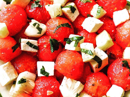 Watermelon Salad with Cucumber and Cheese
