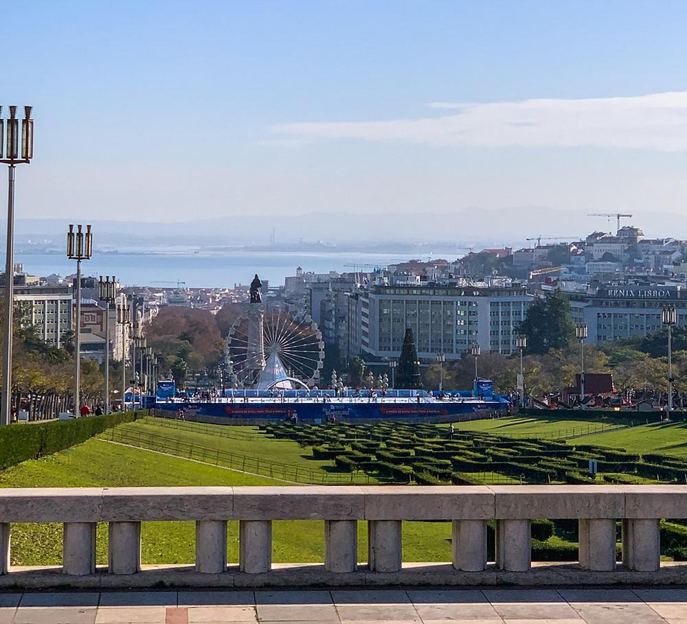 Vista do Parque Eduardo VII, Wonderland Lisboa, até o Rio Tejo