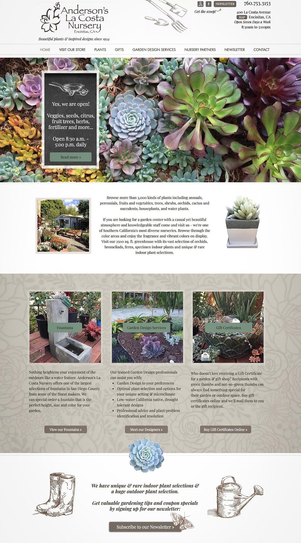 Wix GUI Designer for Garden Nursery