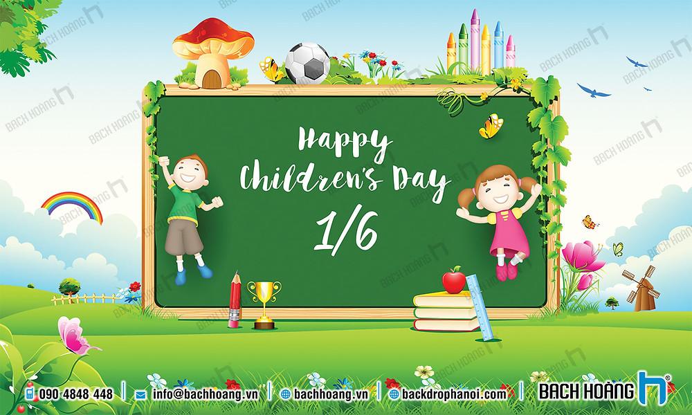 Phông Quốc tế Thiếu nhi 1/6 - Backdrop Happy Children's Day
