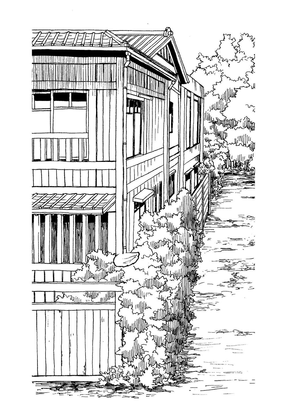 昭和初期の日本家屋。漫画の背景イラストに使用。