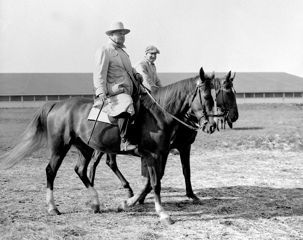 Hall of Fame trainer Ben A. Jones at Keeneland in 1944. Jones trained Whirlaway and Citation.