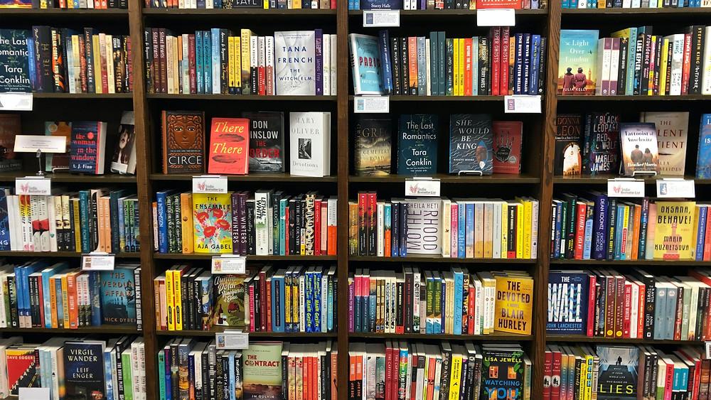 Bookshelf full of books in a bookstore