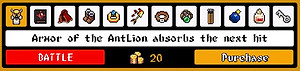 The first item is the Armor of the AntLion, which absorbs the next hit you would have taken from an enemy: