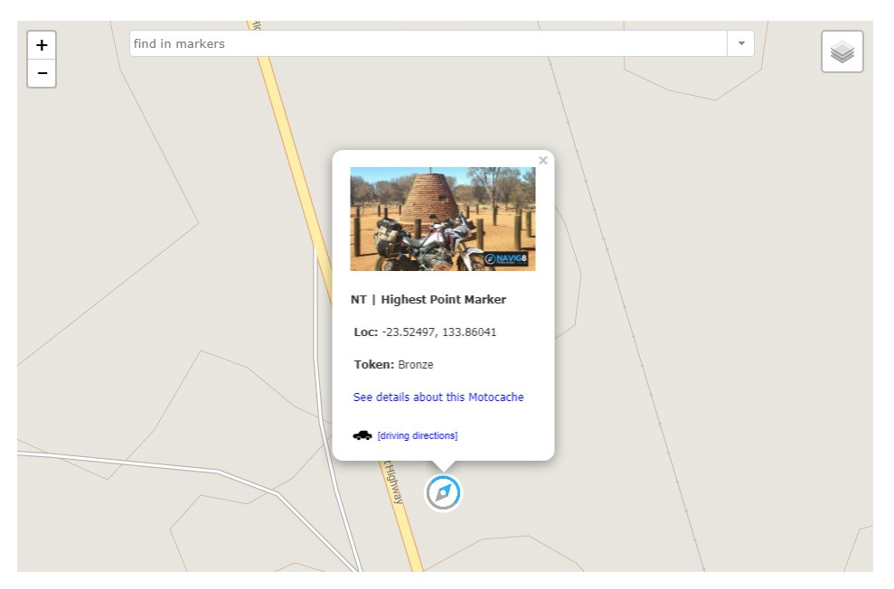 Tap the marker on the map,then See details about this Motocache