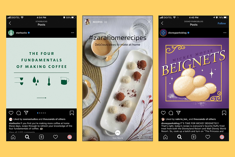 Starbucks, Zara Home and Disney Parks Instagram Content Posts