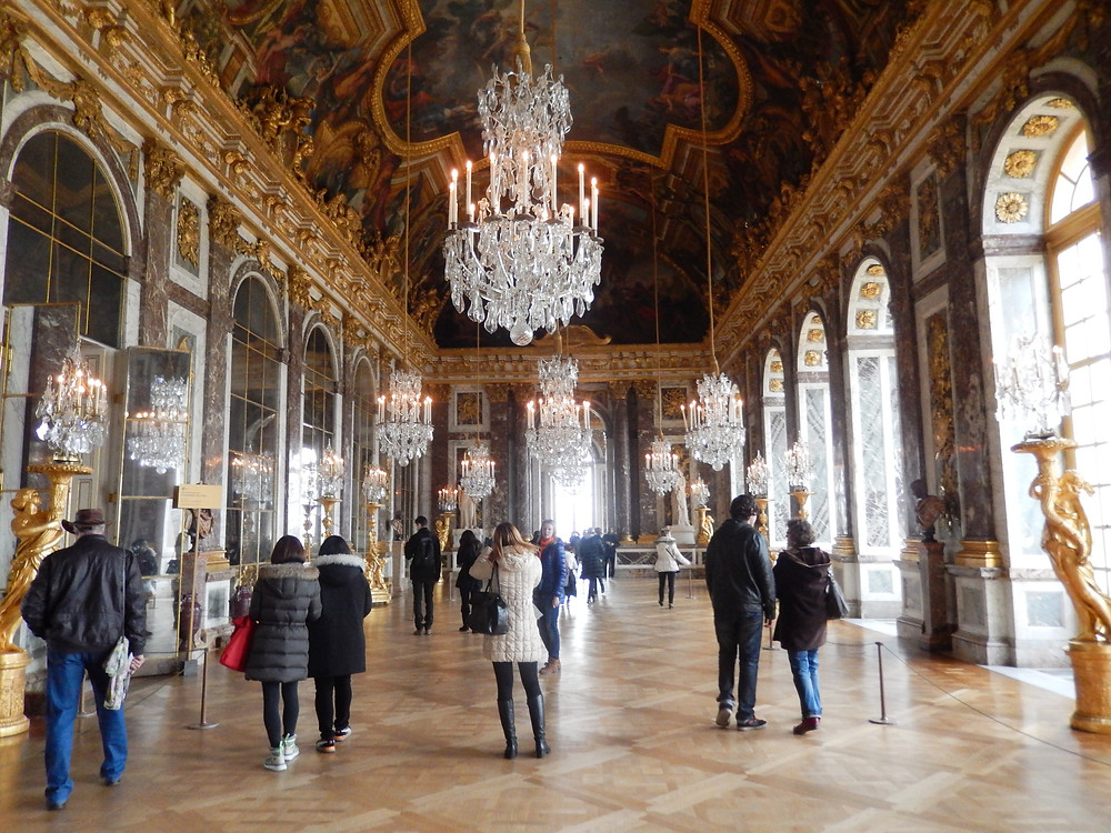 Hall of Mirrors inside the Palace of Versailles, France